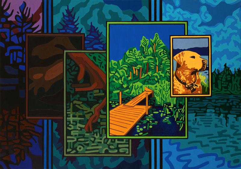 Painting: Buster on McCauley Pond (diptych - left panel)